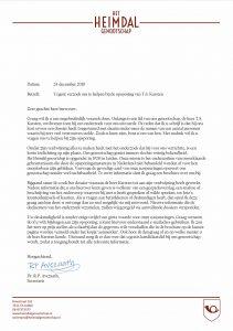 Brief van Heimdal genootschap